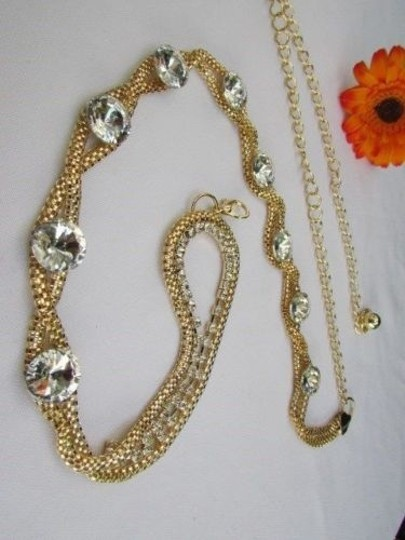 Other Women Hip Waist Gold Big Beads Metal Chains Thin Belt