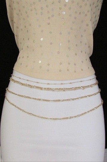 Other Women Thin Strands Metal Chains Fashion Belt Hip Waist Silver Gold