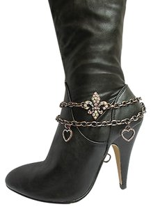 Other Women Gold Boot Anklet Chain 1 Strap Rhinestone Flower Heart Charm