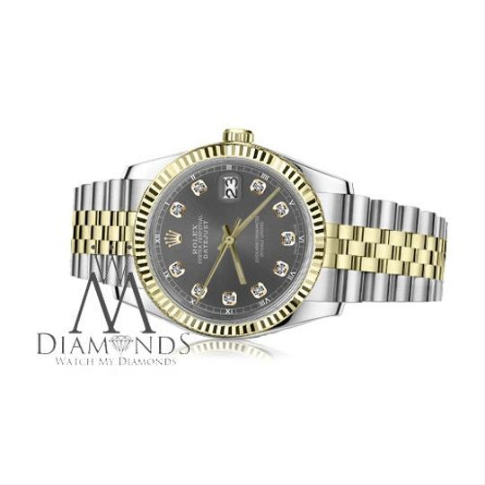 Rolex Women's 26mm Datejust 2 Tone Dark Grey Color Dial with Diamond Accent