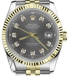 Rolex Women's 31mm Datejust 2 Tone Dark Grey Color Dial with Diamond Accent