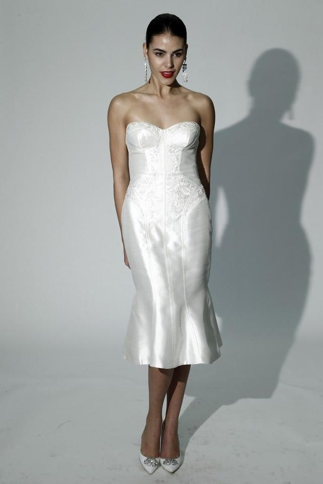Zac posen mikado truly short wedding dress with corset for Zac posen wedding dress price