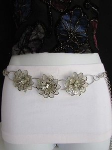 Other Women Hip Waist Silver Metal Flowers Chains Thin Belt Big Beads 27-46