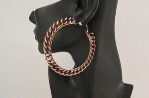 Other Women 3 Big Chunky Hoops Thick Bronze Copper Metal Chains Fashion Earrings