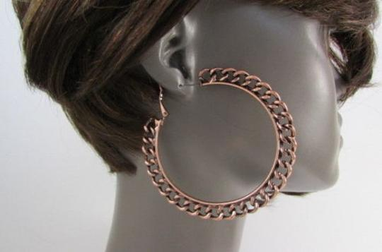 Other Women Chunky Hoops Thick Bronze Copper Metal Chains Earrings