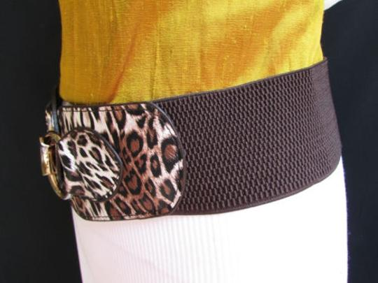 Other Women Hip Waist Elastic Brown Fashion Belt Safari Animal Print 28-36 Sm