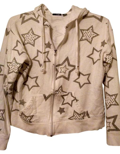 Item - White with Silver Stars Zip-up Hoodie Jacket Size 8 (M)