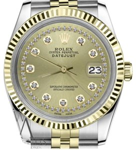 Rolex Women`s 26mm Datejust 2Tone Champagne Color String Diamond Accent Dial
