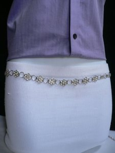 Women Hip High Waist Silver Metal Chain Thin Narrow Fashion Belt 28-38