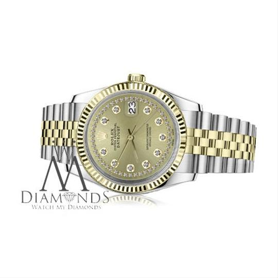 Rolex Women`s 31mm Datejust 2Tone Champagne Color String Diamond Accent Dial