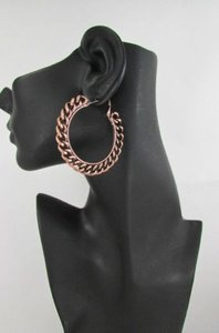 Women Big Chunky Hoops Thick Bronze Copper Metal Chains Fashion Earrings 2