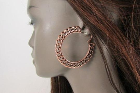 Other Women Big Chunky Hoops Thick Bronze Copper Metal Chains Earrings