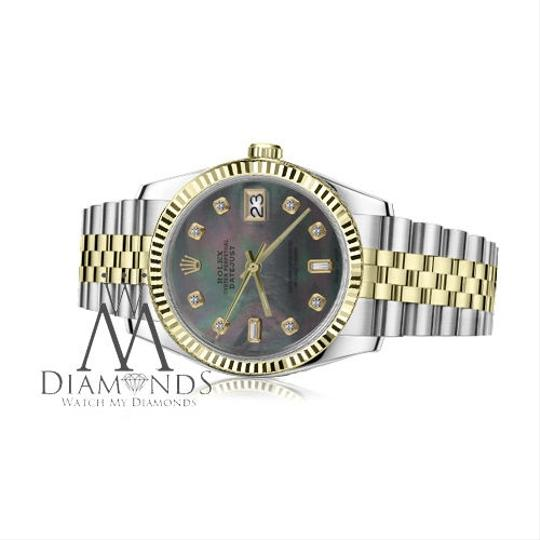 Rolex Women`s 26mm Datejust2Tone Black MOP Mother Of Pearl with 8+2 Diamond