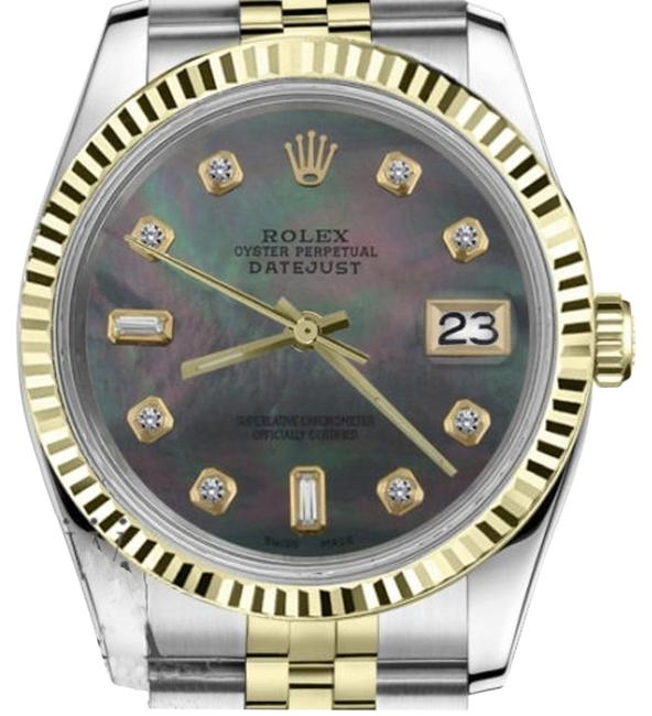 Rolex Women`s 31mm Datejust2tone Black Mop Mother Of Pearl with 8+2 Diamond Watch Rolex Women`s 31mm Datejust2tone Black Mop Mother Of Pearl with 8+2 Diamond Watch Image 1