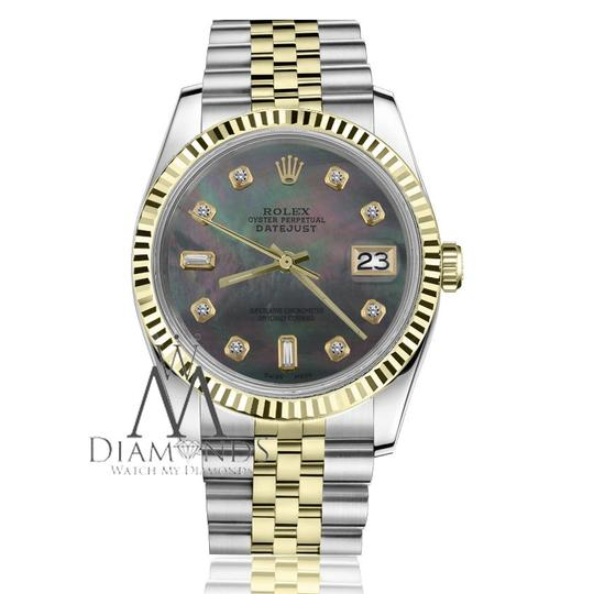Rolex Women`s 31mm Datejust2Tone Black MOP Mother Of Pearl with 8+2 Diamond