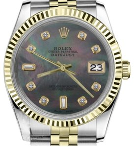 Rolex Men's 36mm Datejust2Tone Black MOP Mother Of Pearl with 8+2 Diamond