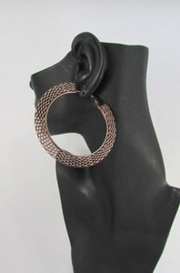 Women Big Chunky Hoops Thick Bronze Copper Metal Links Fashion Earrings 3