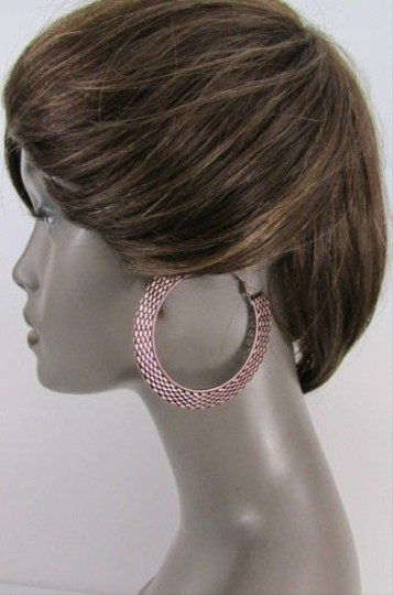 Other Women Big Chunky Hoops Thick Bronze Copper Metal Links Fashion Earrings 3