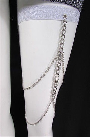 Other Women Silver Thigh Leg Chain Garter Big Rhinestones Fashion Body Jewelry