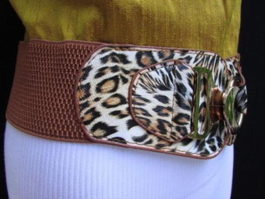 Other Women Hip Waist Elastic Brown Fashion Belt Safari Animal Print