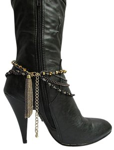 Women Anklet Gold Brown Pewter Boot Multi Chain One Strap Beads Shoe Rodeo Charm