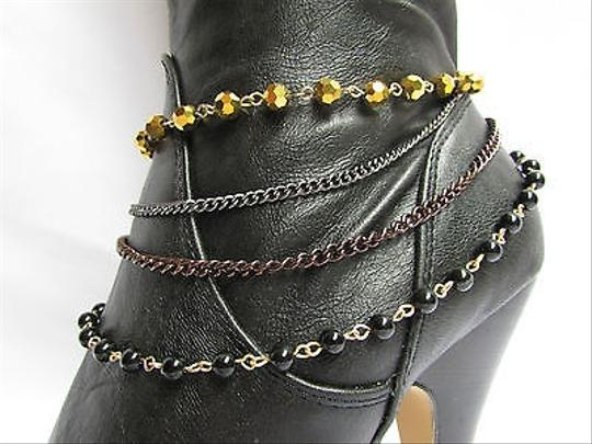 Other Women Anklet Gold Brown Pewter Boot Multi Chain One Strap Beads Shoe Rodeo Charm