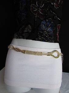 Other Women Hip Waist Gold Loop Braided Metal Flowers Chains Thin Belt