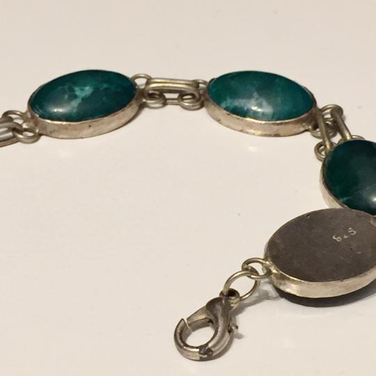 Anthropologie Sterling Silver And Malachite Native American Bracelet