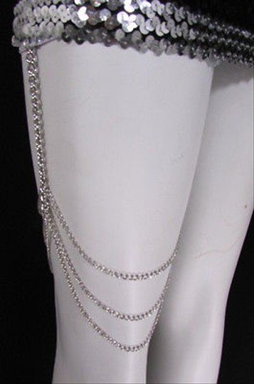 Other Women Silver Thigh Leg Chain Garter Hugging Strands Fashion Body Jewelry