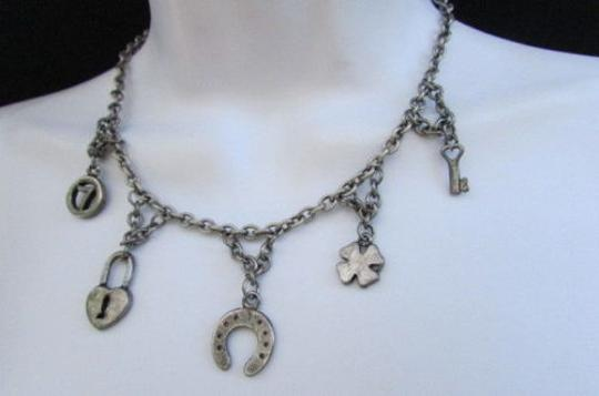 Other Women Fashion Necklace Silver Chain Luck Signs Pendants Heart Key Horeshoe