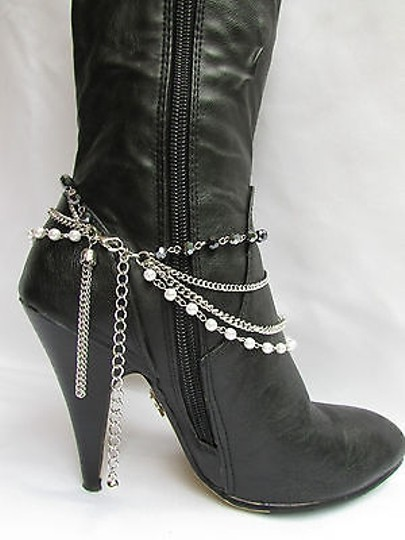 Other Women Silver Anklet Pewter Boot Multi Chains One Strap Beads Western Shoe Charm