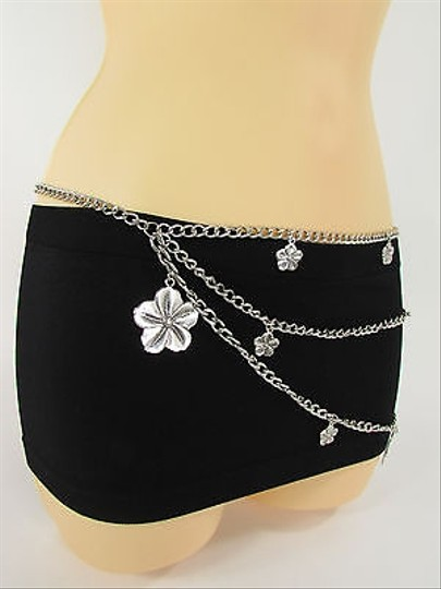 Other Women Hip Waist Silver Metal Chains Fashion Belt Flower Charms 23-35