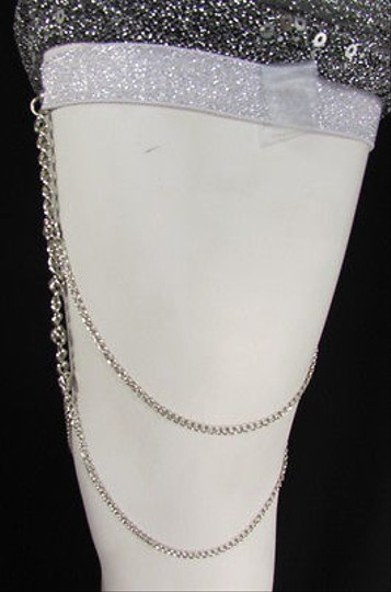 Other Women Silver Thigh Leg Chain Garter Extra Long Strands Fashion Body Jewelry