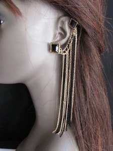 Women Earrings Multi Fringe Thin Chain Gold Black Fabric Metal Fashion Cuff