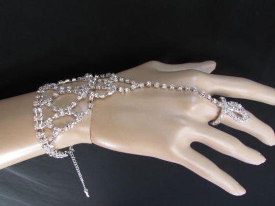 Other Women Silver Metal Hand Chain Slave Dressy Wedding Bracelet Ring Rhinestones
