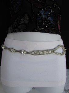 Other Women Hip Waist Silver Big Beads Loop Mesh Metal Chains Thin Belt
