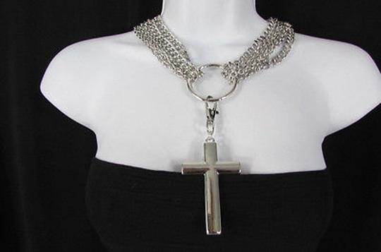 Other Women Multi Strands Metal Chains Fashion Necklace Cross Gold Silver