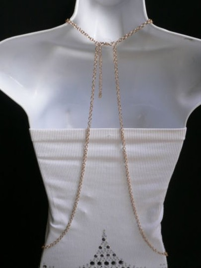 Other Women Gold Metal Body Chain Choker Pendant Spikes Body Jewelry Long Necklace