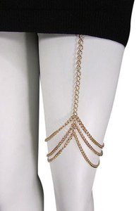 Women Gold Thigh Leg Metal Chain Garter Hugging Strand Fashion Body Jewelry
