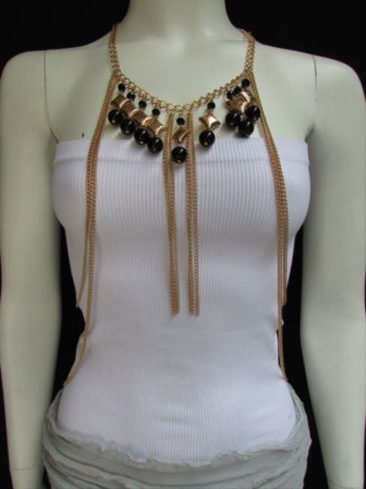 Other Women Gold Metal Body Chain Jewelry Black Beads African Style Long Necklace