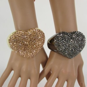 Women Love Heart Cuff Bracelet Fashion Jewelry Rhinestones Black Gold Pink