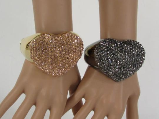 Other Women Love Heart Cuff Jewelry Rhinestones Black Gold Pink