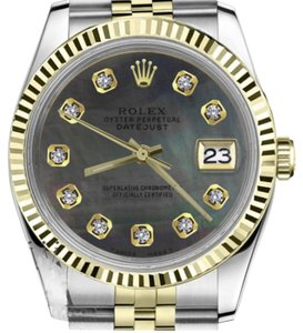 Rolex Ladies 26mm Datejust2Tone Black MOP Mother Of Pearl Dial with Diamonds