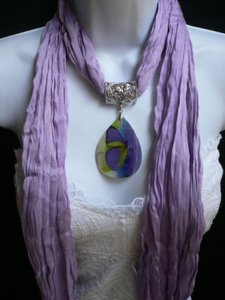 Other Women Lavander Fashion Scarf Necklace Big Seashell Pendant Purple Butterfly