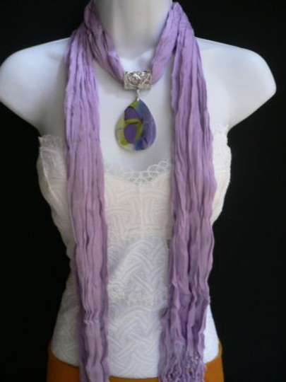 Other Women Lavender Scarf Necklace Big Seashell Pendant Purple Butterfly