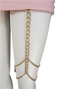 Other Women Gold Thigh Leg Chunky Metal Chain Garter Body Jewelry