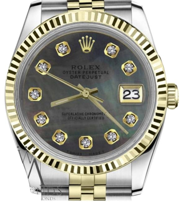 Rolex Ladies 31mm Datejust2tone Black Mop Mother Of Pearl Dial with Diamonds Watch Rolex Ladies 31mm Datejust2tone Black Mop Mother Of Pearl Dial with Diamonds Watch Image 1
