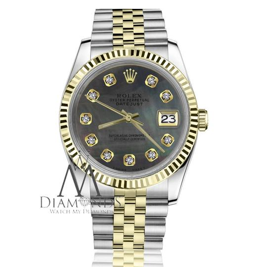 Rolex Ladies 31mm Datejust2Tone Black MOP Mother Of Pearl Dial with Diamonds