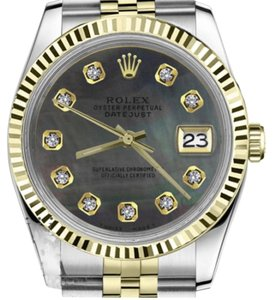 Rolex Men's 36mm Datejust2Tone Black MOP Mother Of Pearl Dial with Diamonds