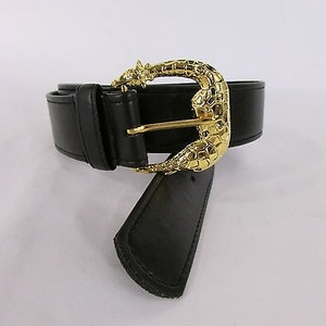 Women Black Faux Leather Classic Fashion Belt Gold Giraffe Buckle Sm Ml